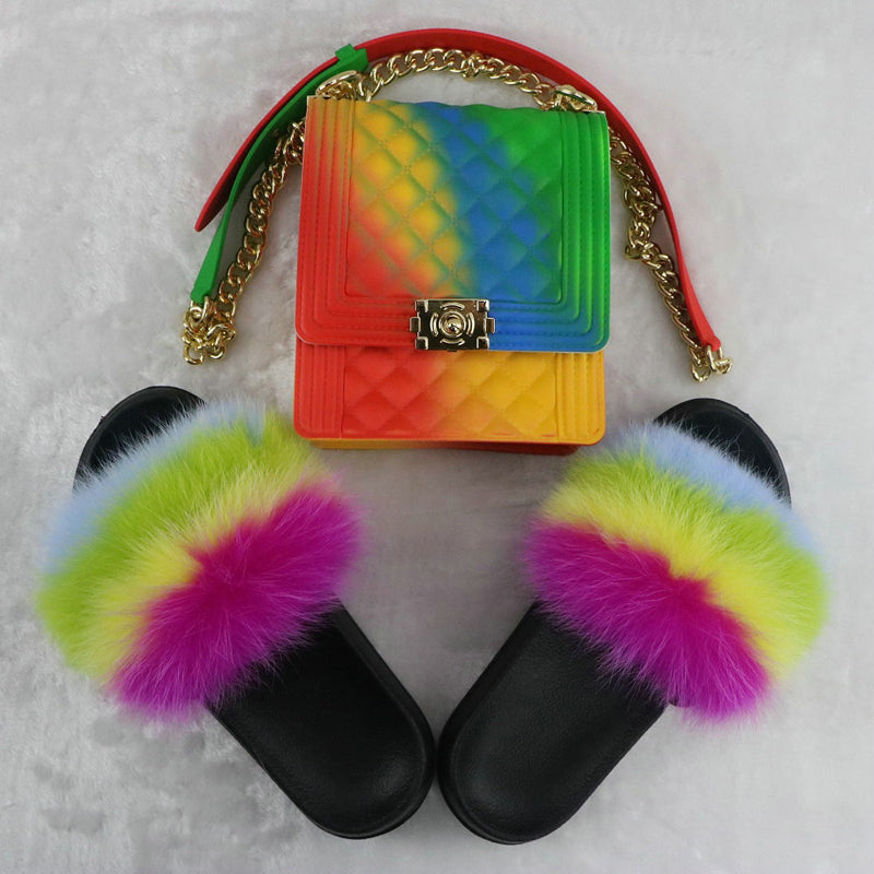 SHB303 New candy color women jelly bag handbags furry slippers and purse sets
