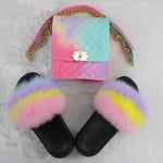 Load image into Gallery viewer, SHB303 New candy color women jelly bag handbags furry slippers and purse sets