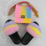 Load image into Gallery viewer, SHB304 USA wholesale pvc women candy handbags jelly purse and fur slides sets