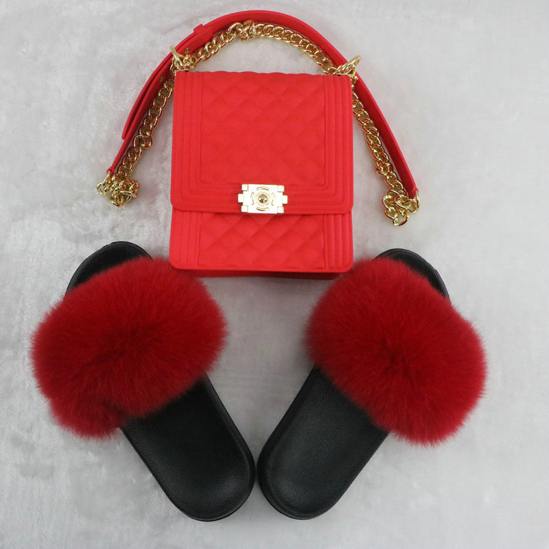 SHB305 Fashion women matching handbags and shoes small jelly purses and slides