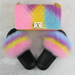 Load image into Gallery viewer, SHB309 New 2020 candy women jelly hand bags fur slides and matching purse shoes women bag
