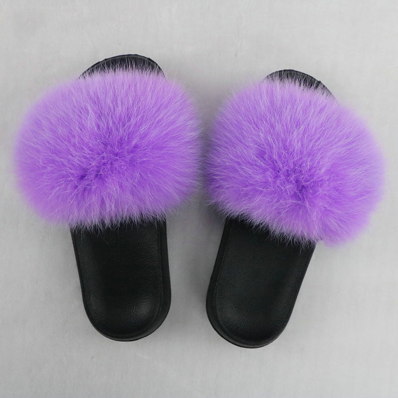 SHB311 Wholesale cheap double black women fur slides fur slide vendor
