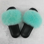 Load image into Gallery viewer, SHB311 Wholesale cheap double black women fur slides fur slide vendor