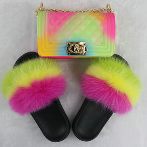 SHB315 Hot sale pvc beach women slides jelly hand bags shoes and purse set