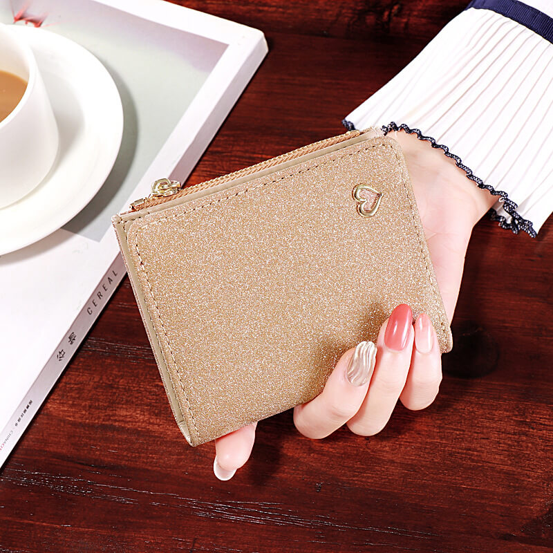 W403 New arrival fashion short multi-card pu leather shiny purse sequined wallet women