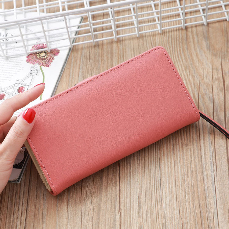 W426 Wholesale cheap high quality pu leather customize logo hand purse pink wallet