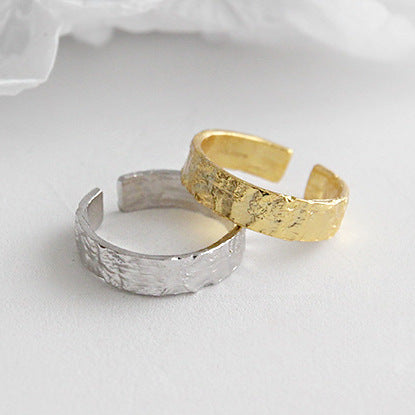 Unisex 100% S925 Sterling Silver Plated Gold Wrinkle Ring