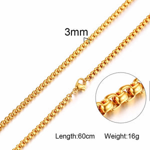 3mm Men's Stainless Steel Thick Golden Link Chain Necklace