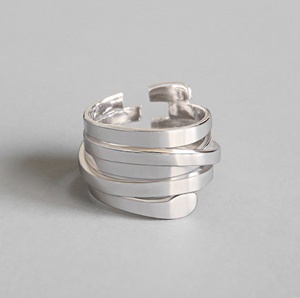 Unisex 100% S925 Sterling Silver Layers Ring