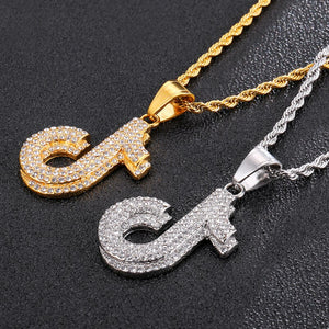 HIP Hop Bling Music Note Rhinestone Necklace & Pendants Stainless Steel