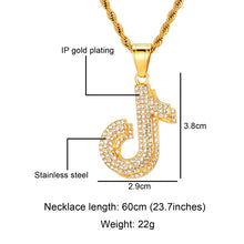 Load image into Gallery viewer, HIP Hop Bling Music Note Rhinestone Necklace & Pendants Stainless Steel