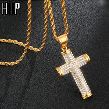 Load image into Gallery viewer, Rhinestone Cross Men's Pendants & Necklaces Stainless Steel