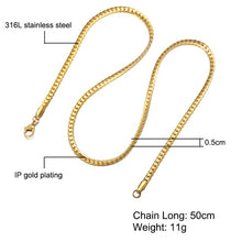 Load image into Gallery viewer, HIP Hop Gold Color Stainless Steel Curb Cuban Link Chain Necklace 50CM