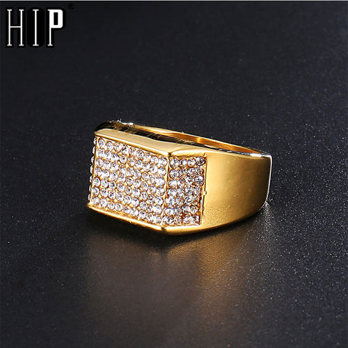 HIP Hop Gold Stainless Steel Rhinestone Men's Square Ring