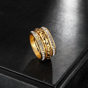 Stainless Steel Rhinestone Hollow Men's Ring