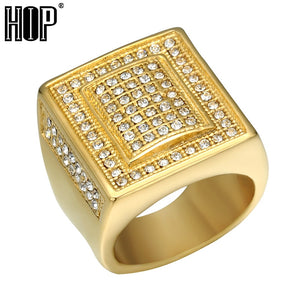 HIP Hop Crystal Chunky Square Mens Ring BlingTitanium