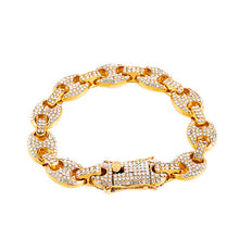 Load image into Gallery viewer, Mens Mixed Color Crystal Link Chain Bracelet