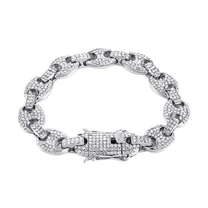 Mens Mixed Color Crystal Link Chain Bracelet