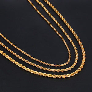 HIP Hop Rope Chain Necklace Twisted Stainless Steel