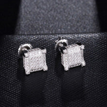 Load image into Gallery viewer, Square Round Bling Stud Copper Earrings Men Jewellery