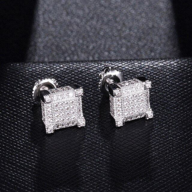 Square Round Bling Stud Copper Earrings Men Jewellery