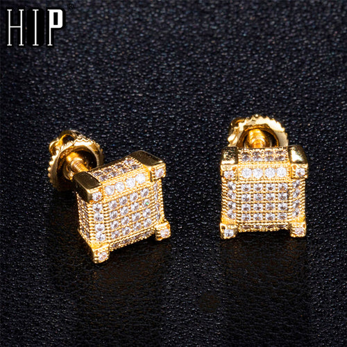 Mens Square Bling Stud Earrings
