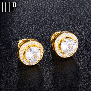 Mens Round Bling Iced Out Stud Earrings