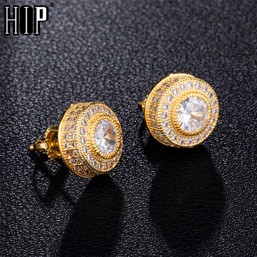 Mens Round Iced Out Stud Earrings