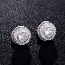 Load image into Gallery viewer, Mens Round Iced Out Stud Earrings