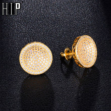 Load image into Gallery viewer, Mens Gold Round Bling Stud Earrings