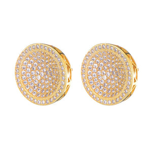 Mens Gold Round Bling Stud Earrings