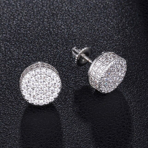 Travis Scott Mens Round Crystal Diamond Stud Earrings