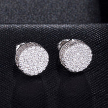 Load image into Gallery viewer, Travis Scott Mens Round Crystal Diamond Stud Earrings