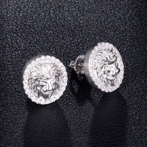 Mens Round Lion Bling Stud Earrings