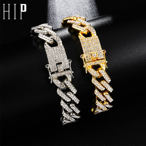 Hip Hop Crystal Bling Bling Chain Bracelet