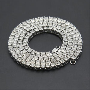Rhinestone Choker Bling Crystal Tennis Chain Necklace Men Jewellery