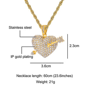 Arrow Heart Shape Rhinestone Bling Pendants & Necklaces