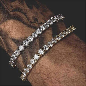 Hip Hop Bling Iced Out Diamond Crystal Bracelet Tennis Chain