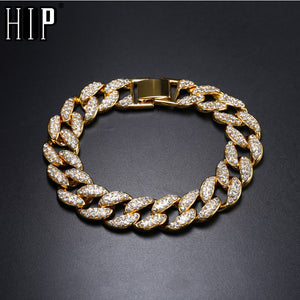 Crystal Gold Men's Chain Bracelet Jewelry
