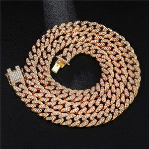 Rhinestones 1Set 13MM Gold Silver Rapper Necklaces Men Jewellery