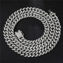 Load image into Gallery viewer, Rhinestones 1Set 13MM Gold Silver Rapper Necklaces Men Jewellery