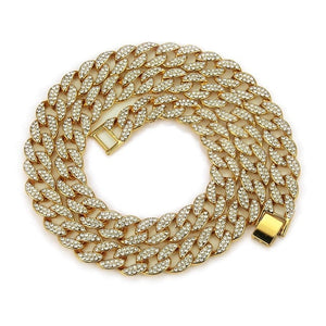 Chain Necklace 15mm Gold Silver Paved Rapper