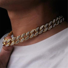Load image into Gallery viewer, Chain Necklace 15mm Gold Silver Paved Rapper