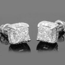 Load image into Gallery viewer, Hip Hop Iced Out Stone Crystal Silver Stud Earrings