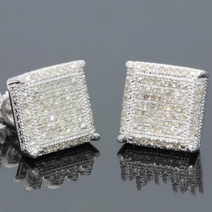 Hip Hop Iced Out Stone Crystal Silver Stud Earrings