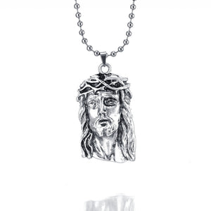 silver jesus piece pendant necklace hip hop