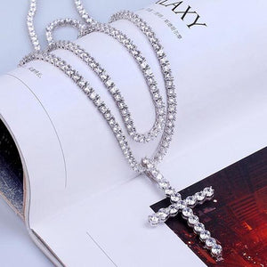 Mark Wahlberg HIP Hop Bling Cross Pendant Necklace Men