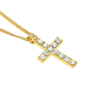 Hip Hop Bling Rhinestone Crystal Cross Pendant Necklace
