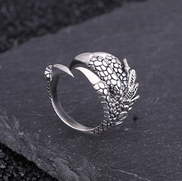 Unisex 100% S925 Silver Ring Claw