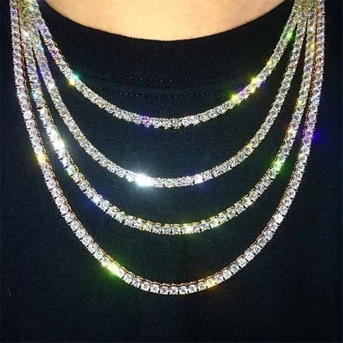 Hiphop Rhinestone Tennis Chain Necklace Unisex